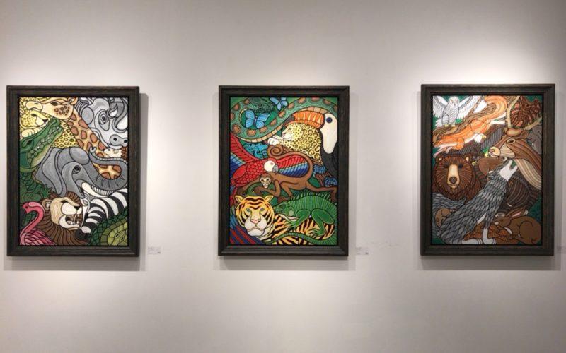 渋谷ヒカリエ8FのCUBE 1,2,3で開催した森勉(モリ・ベン)ワンマン・アートショー 創世記「ジェネシス」の展示作品
