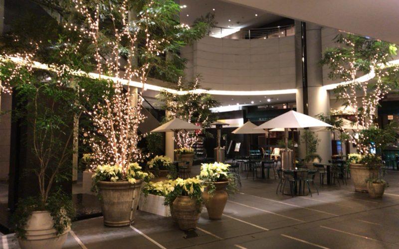 Bunkamura B1Fのドゥ マゴ パリのテラスに点灯したBunkamuraクリスマスイルミネーション