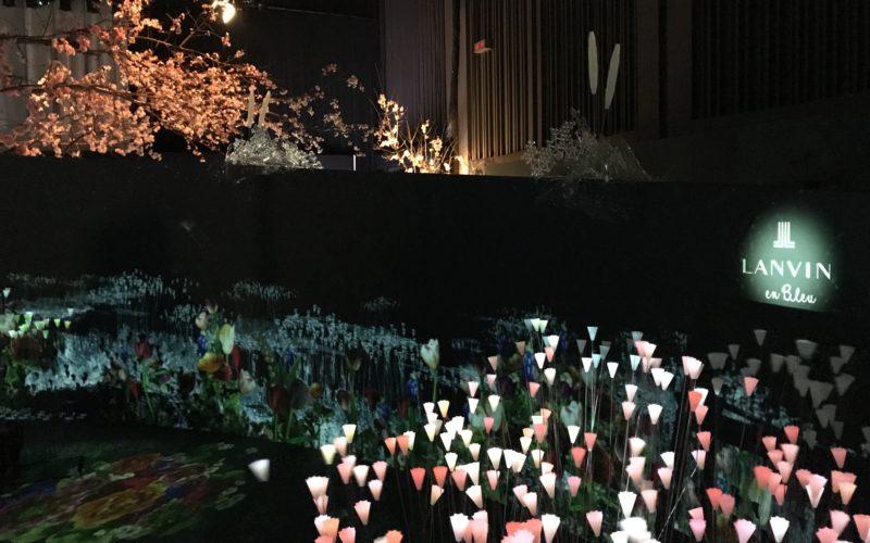 フラワーズ バイ ネイキッド2018 輪舞曲の会場内にあるランバン オン ブルーとのコラボ花畑