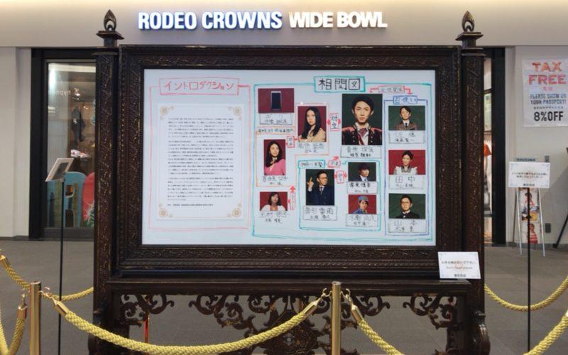 お台場ダイバーシティ4Fで開催した「貴族探偵」展示会に展示していた人物相関図