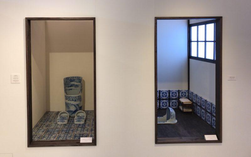 Bunkamuraのギャラリーで開催した「染付古便器の粋」の展示