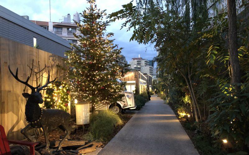ログロード代官山の散策路に点灯したクリスマスイルミネーション