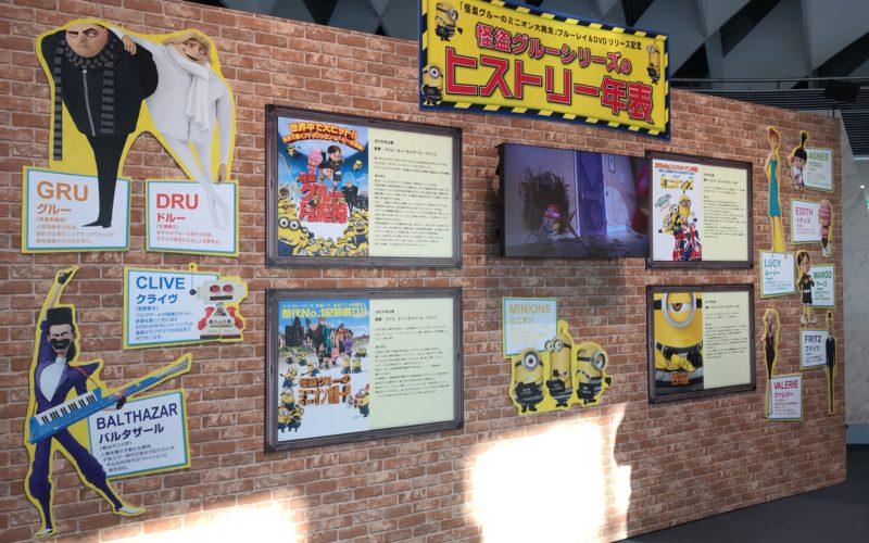 お台場フジテレビで開催した怪盗グルーのミニオン大脱走 パネル展&ショップに展示していた怪盗グルーシリーズのヒストリー年表
