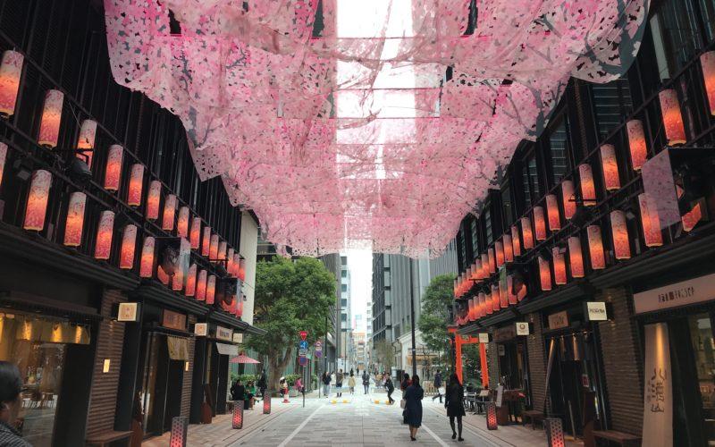 日本橋 桜フェスティバルでコレド室町1と2の間の仲通りに展示されたSAKURA TUNNEL