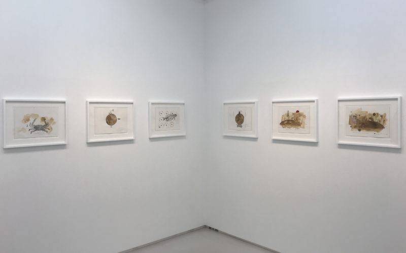 渋谷ヒカリエ8Fの小山登美夫ギャラリーで開催した「シュシ・スライマン ドローイング展」の会場内