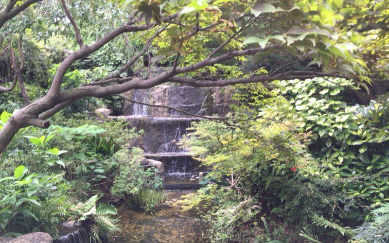 ウェスティンガーデンの滝と小川