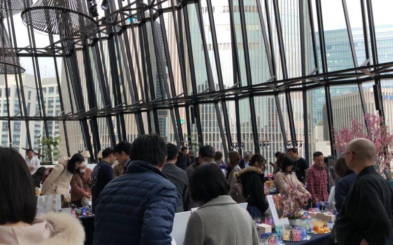 東急プラザ銀座6Fのキリコラウンジで開催した「江⼾切⼦桜祭り」の会場