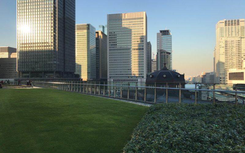 KITTE丸の内の屋上庭園 KITTEガーデンの芝生と東京駅