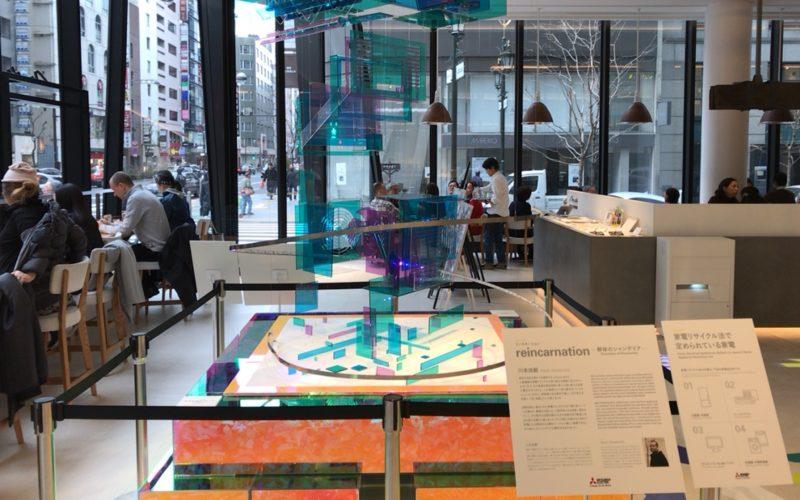 東急プラザ銀座1~3Fのメトアギンザで開催したRe-Birth in Ginzaの1Fに展示していた解体のシャンデリア