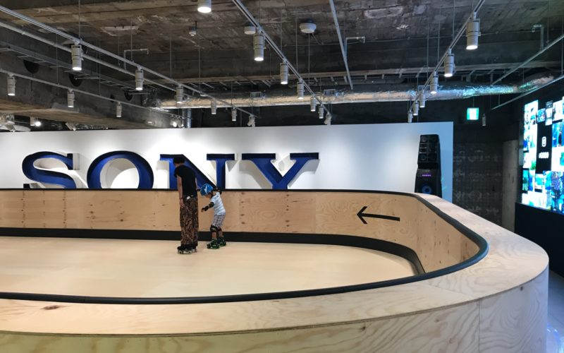 銀座ソニーパークB2Fのイベントスペースで開催した「PARK × MUSIC × ROLLER SKATE」のローラースケート場