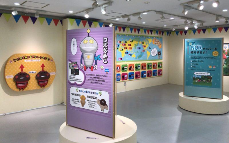NHKスタジオパークで開催した「なめこ せかいのともだち」展の会場