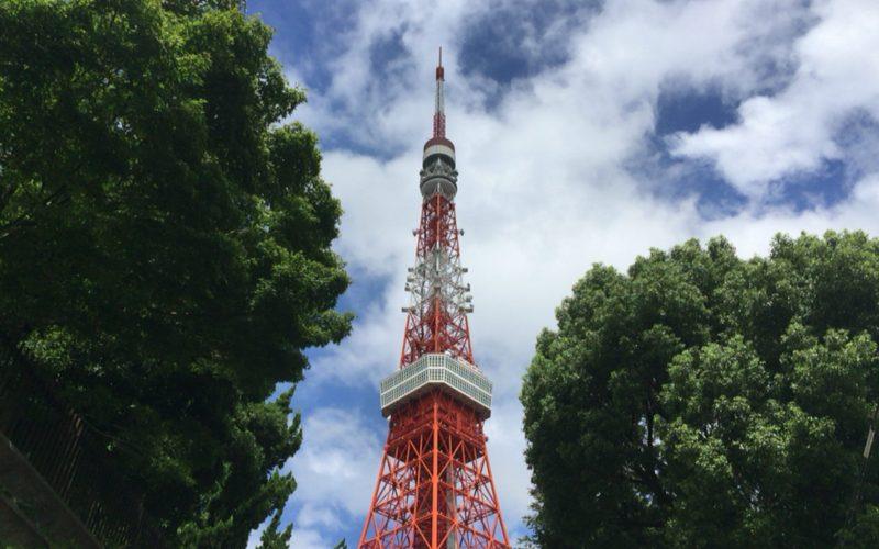 下から見た東京タワーと樹木