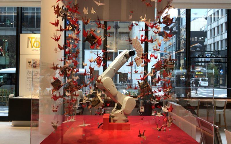 東急プラザ銀座1~3Fのメトアギンザで開催したRobotic Art in Ginzaの1Fに展示していたロボットの扇子の舞