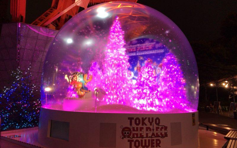 東京タワーの正面玄関前で行われていたスノードームショー