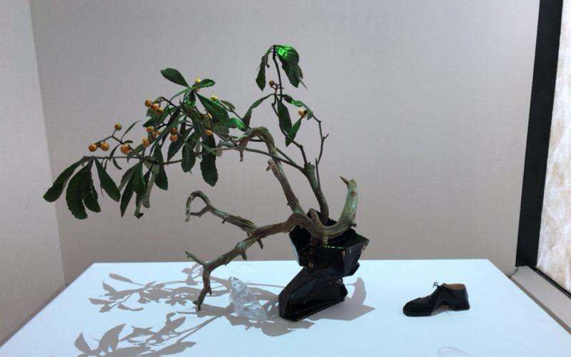 「靴の彫刻」に展示していた靴のカタチをした花器にいけられた金柑