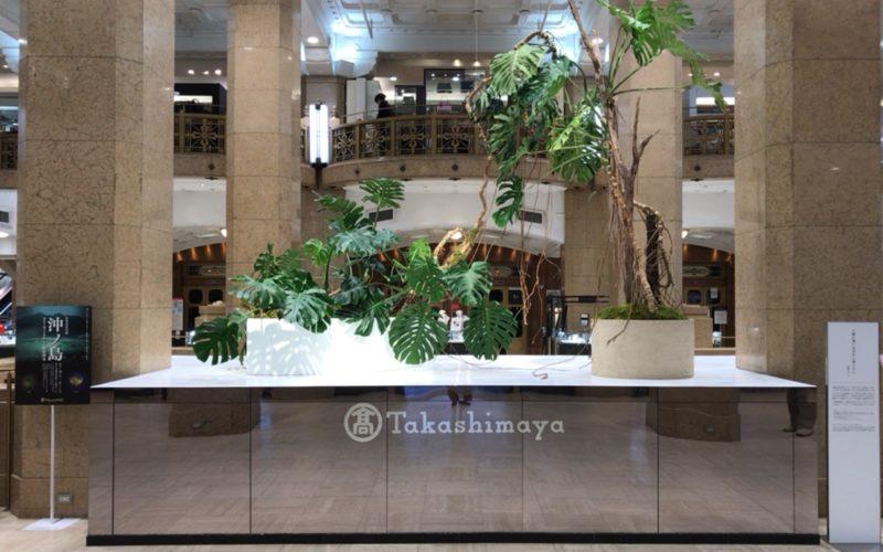沖ノ島 神宿る海の正倉院ー撮影 藤原新也ーの開催にあわせて日本橋高島屋1Fの正面ホールに展示されたインスタレーション