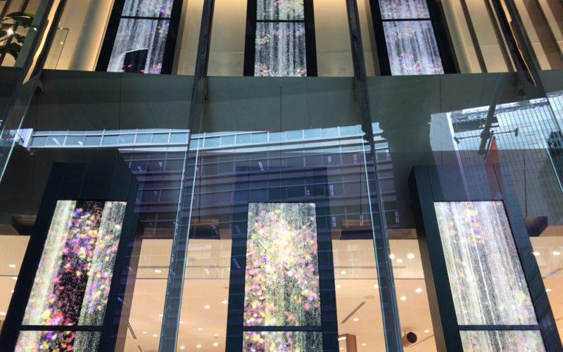 タカシマヤウオッチメゾンの入口に展示しているチームラボのデジタルアート作品「Flowers in the Sandfall」