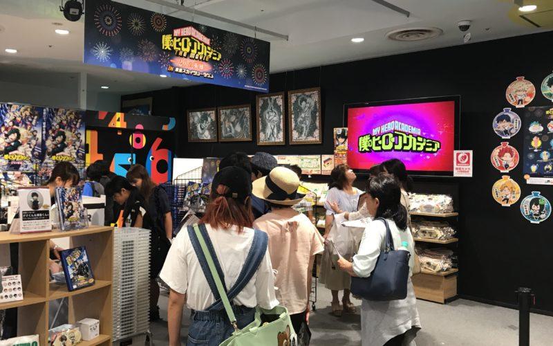 東京ソラマチ4Fのテレビ局公式ショップ ツリービレッジで開催した「僕のヒーローアカデミア in 東京スカイツリータウン」のショップ店内