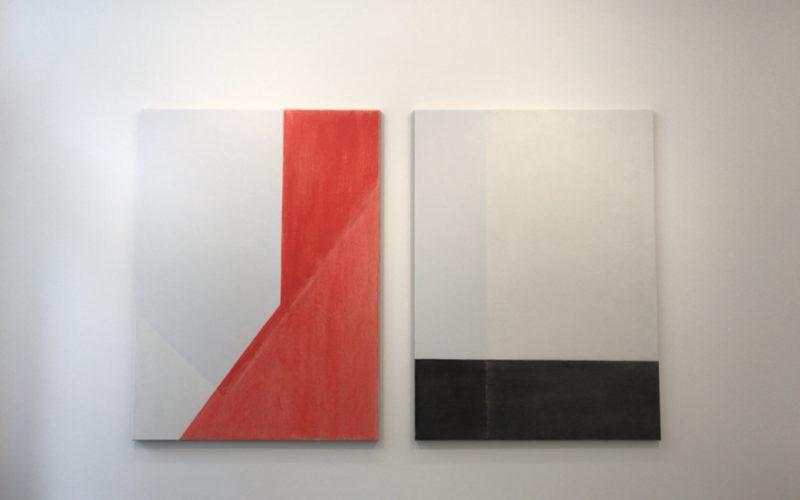 コンプレックス665 3Fのタカ・イシイギャラリーで開催した登山博文「部屋|光」に展示していた2点組の絵画