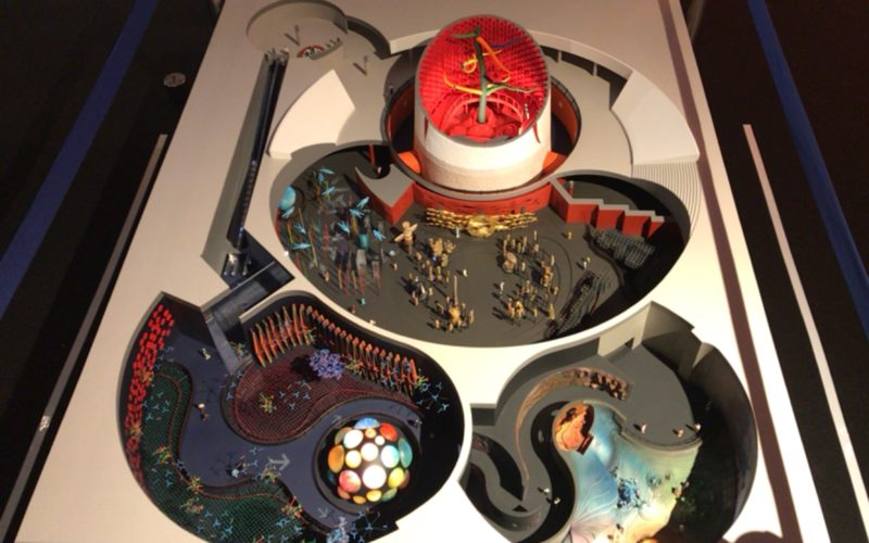 岡本太郎記念館で開催している「太陽の塔 1967―2018 岡本太郎が問いかけたもの」に展示しているテーマ館のジオラマ