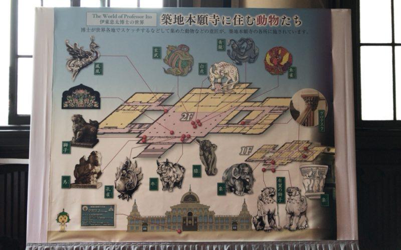 築地本願寺の本堂内に掲示している「築地本願寺に住む動物たち」