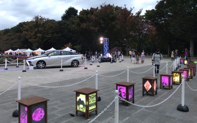 上野公園の噴水広場で開催したイベント「創エネ あかりパーク」の会場内