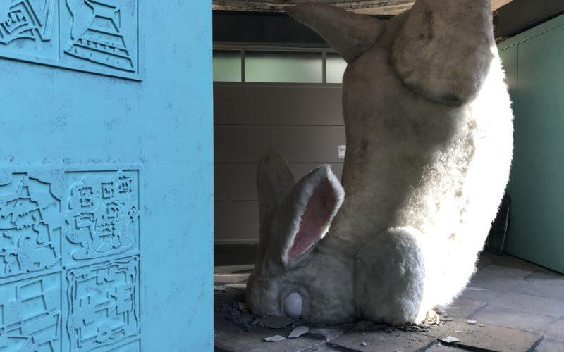 旧博物館動物園駅で開催したアナウサギを追いかけてのインスタレーション