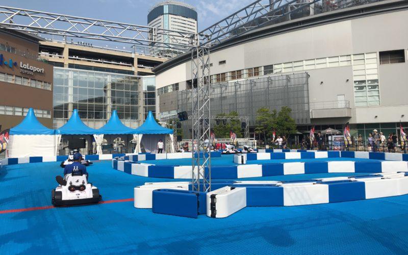 ららぽーと豊洲のイベントとして開催したドリフトカートの会場を走るカート