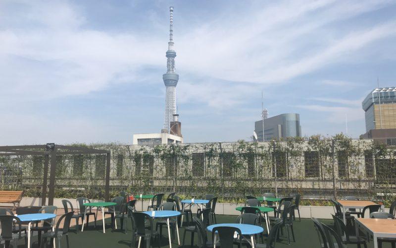エキミセの屋上にオープンしていた納涼ハレテラス エキビア スカイツリービューから見える東京スカイツリー